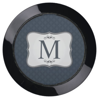 Dark Blue Pattern – Classy Men's Monogram USB Charging Station