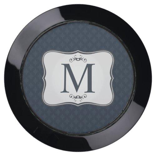 Dark Blue Pattern – Classy Men's Monogram USB Charging Station