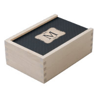 Dark Blue Pattern – Classy Men's Monogram Wooden Keepsake Box