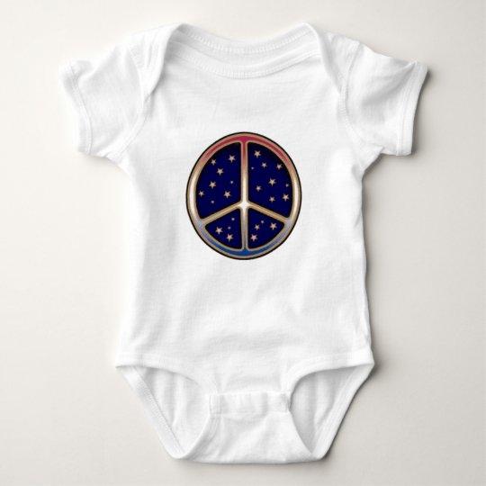 DARK BLUE PEACE SIGN BABY BODYSUIT
