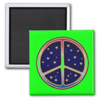 DARK BLUE PEACE SIGN 2 INCH SQUARE MAGNET
