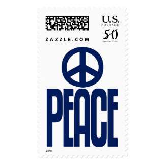 Dark Blue Peace Sign & Text, Postage Stamp