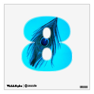 Dark Blue Peacock Feather 8 Wall Decal