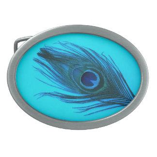 Dark Blue Peacock Feather Belt Buckle