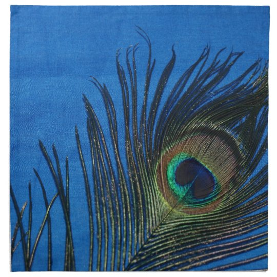 Dark Blue Peacock Feather Napkin