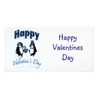 Dark Blue Penguin Happy Valentines Day Card