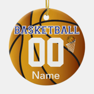 Dark Blue Personalize Basketball Number Ornament