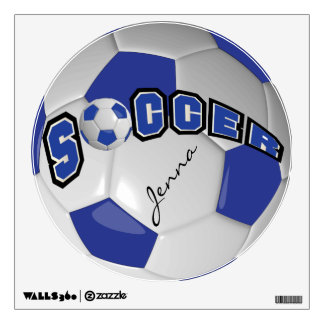 Dark Blue Personalize Soccer Ball Wall Decal