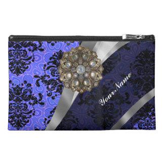 Dark blue  personalized girly damask pattern travel accessory bag