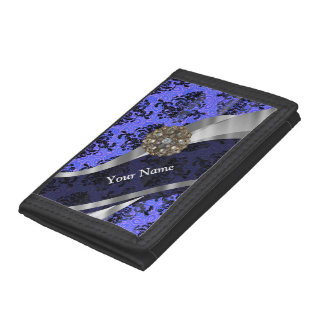 Dark blue  personalized girly damask pattern trifold wallets