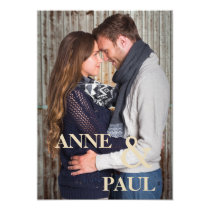 Dark blue photo Wedding Invitation