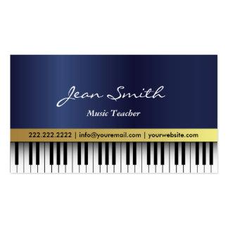 Dark Blue Piano Music Teacher Business Card
