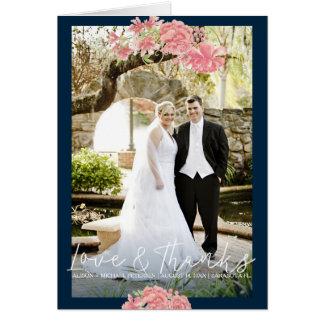 Dark blue pink peonies wedding photo thank you card