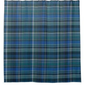 Dark Blue Plaid Pattern Shower Curtain