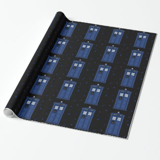 Dark Blue POLICE Box starry night Geek paper Wrapping Paper