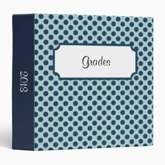 Dark Blue Polka Dots Beveled Label 3 Ring Binder