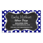 Dark Blue Polka Dots; Vintage Chalkboard Double-Sided Standard Business Cards (Pack Of 100)