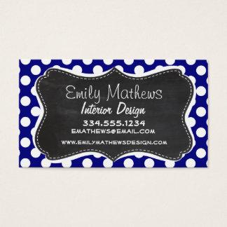 Dark Blue Polka Dots; Vintage Chalkboard Business Card