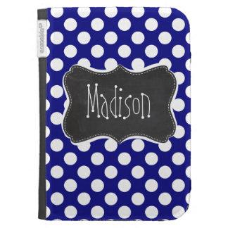 Dark Blue Polka Dots Vintage Chalkboard Kindle Folio Case