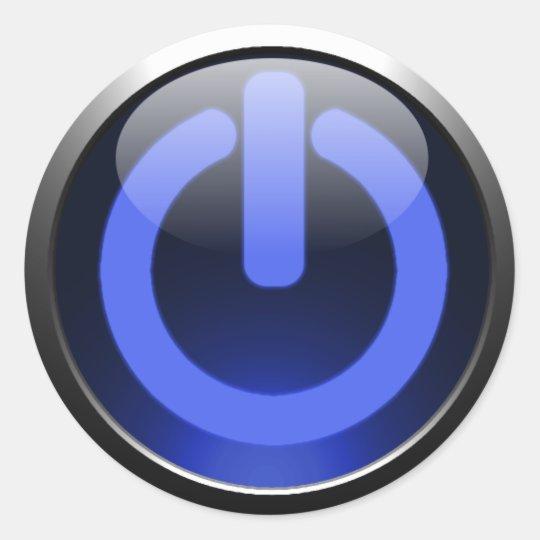 Dark Blue Power Button Sticker