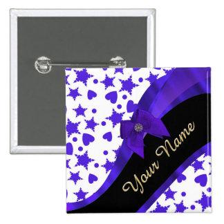 Dark blue pretty girly pattern personalized button