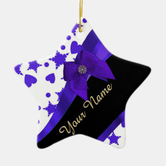 Dark blue pretty girly pattern personalized ceramic ornament
