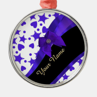Dark blue pretty girly pattern personalized metal ornament