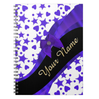 Dark blue pretty girly pattern personalized notebook