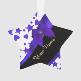 Dark blue pretty girly pattern personalized ornament