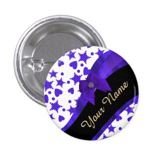 Dark blue pretty girly pattern personalized pinback button