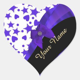 Dark blue pretty girly pattern personalized heart sticker