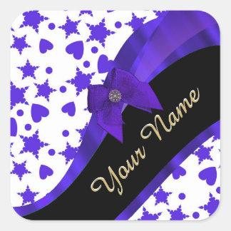 Dark blue pretty girly pattern personalized square sticker