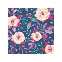 Dark Blue Purple and Pink floral pattern Canvas Print