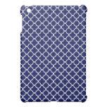 Dark Blue Quatrefoil Clover Pattern iPad Mini Covers