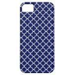 Dark Blue Quatrefoil Pattern iPhone 5 Covers