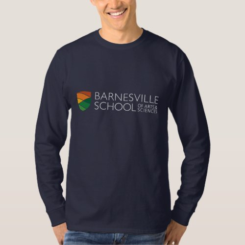 Dark Blue Rectangle Logo Long Sleeved T_shirt