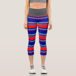 [ Thumbnail: Dark Blue, Red, and Deep Sky Blue Colored Stripes Leggings ]