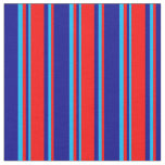 [ Thumbnail: Dark Blue, Red, and Deep Sky Blue Colored Stripes Fabric ]