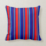 [ Thumbnail: Dark Blue, Red, and Deep Sky Blue Colored Stripes Throw Pillow ]