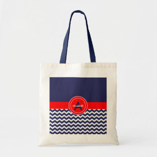 Dark Blue Red Chevron Tote Bag