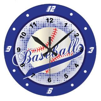 Dark Blue Retro Baseball Style Large Clock