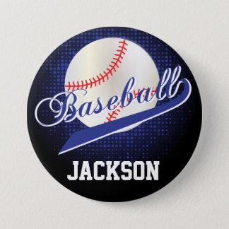 Dark Blue Retro Baseball Style Pinback Button