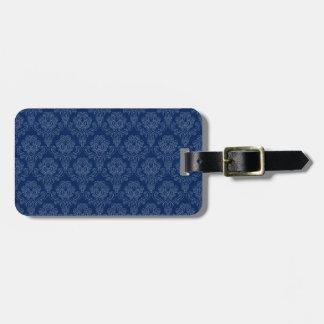 Dark Blue Retro Floral Tag For Luggage