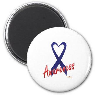 Dark Blue Ribbon Awareness Design Fridge Magnets