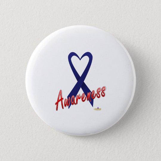 Dark Blue Ribbon Awareness Design Pinback Button