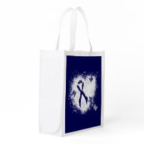 Dark Blue Ribbon Grunge Heart Grocery Bag