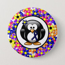 Dark Blue Ribbon Penguin Button