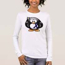 Dark Blue Ribbon Penguin Long Sleeve T-Shirt