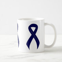 Dark Blue Ribbon Support Awareness Coffee Mug