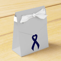 Dark Blue Ribbon Support Awareness Favor Box